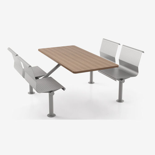 dining table / rectangular / with attached chair
