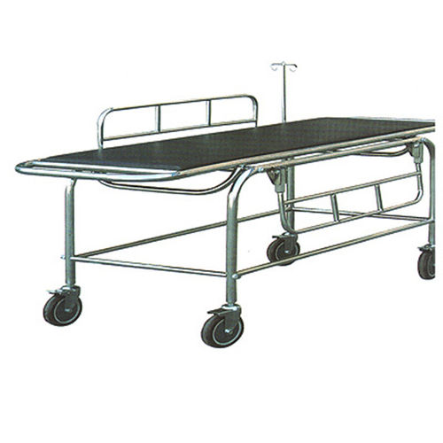patient transfer stretcher trolley / manual / stainless steel / 1-section