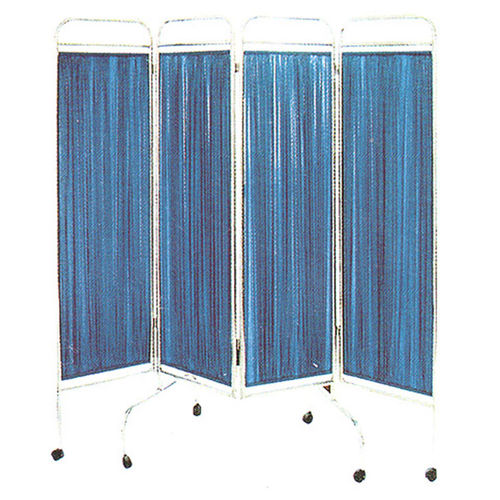 hospital screen on casters / 4-panel / with curtain / folding