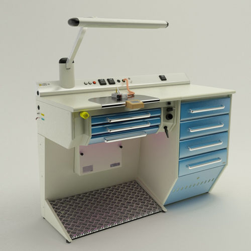 dental laboratory workstation with footrest
