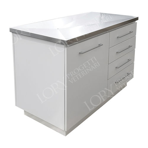 veterinary examination table / fixed-height / 1-section / with storage unit