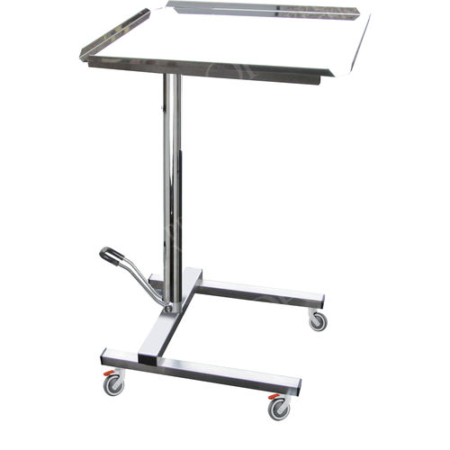 height-adjustable Mayo table / on casters / stainless steel / hydraulic