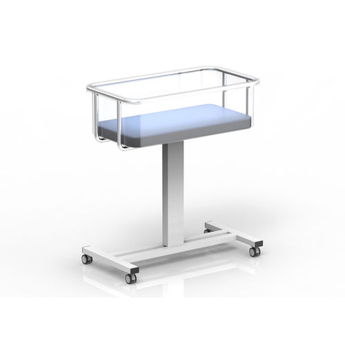 fixed-height hospital bassinet / transparent / on casters