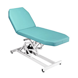 electric examination table / height-adjustable / on casters / 2 sections