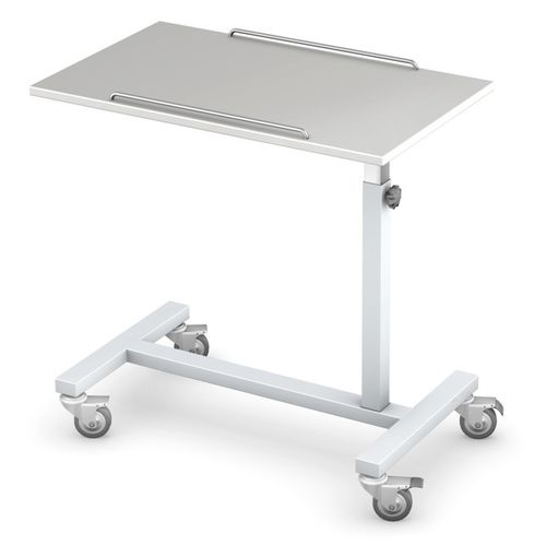 overbed table on casters / height-adjustable / manually operated