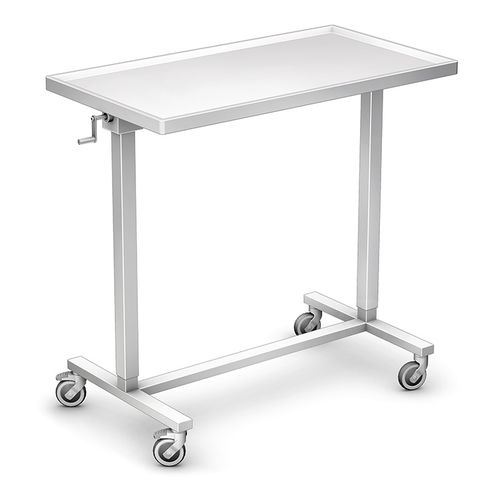 instrument table with shelves / on casters / height-adjustable / stainless steel