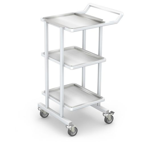 transport trolley / for instruments / with shelf / 3-tray