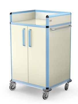 multi-function trolley / for medical devices / with door / with drawer