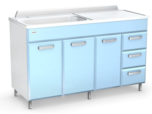 changing table / rectangular / with sink