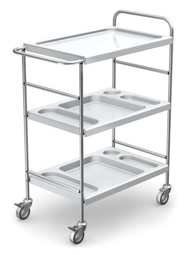 multi-function trolley / for instruments / with bowl / 3-tray