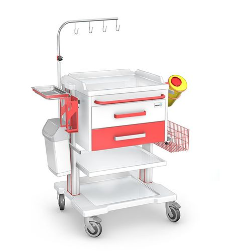 treatment cart / with IV pole / with drawer