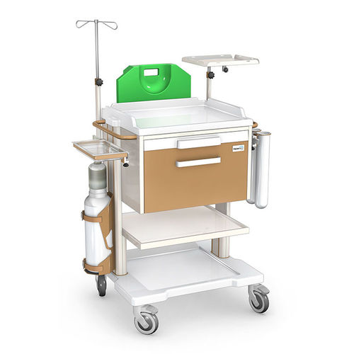 intensive care cart / with CPR board / with IV pole / with drawer