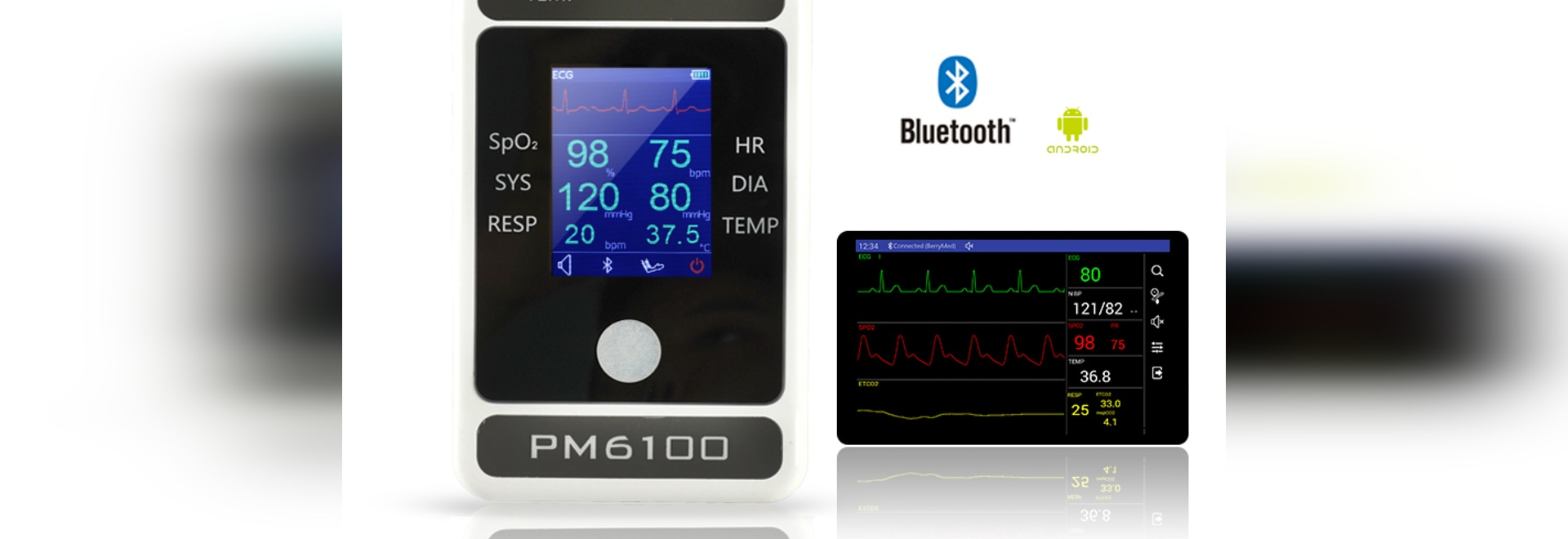 The bluetooth palm patient  monitor can be monitored anytime and anywhere.