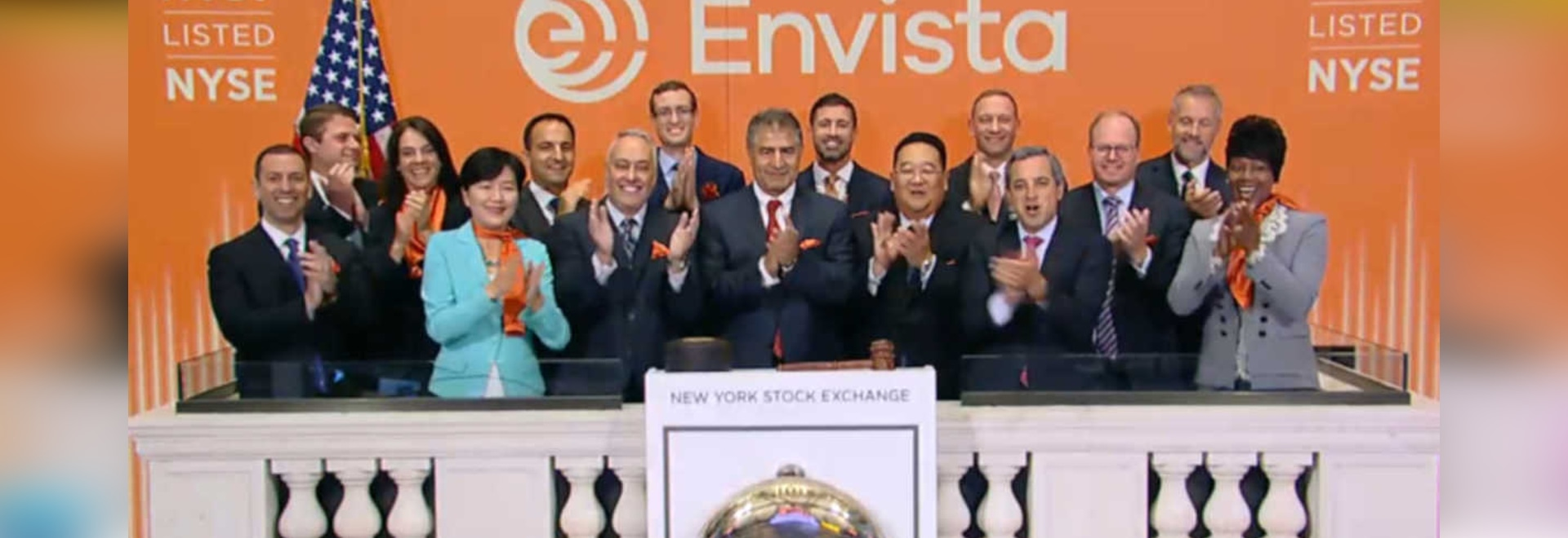 CEO and President of Envista, Amir Aghdaei (center), opened trading at the New York Stock Exchange on Sept. 20 to mark the successful spinoff of Danaher's dental arm. (Image: New York Stock Exchange)