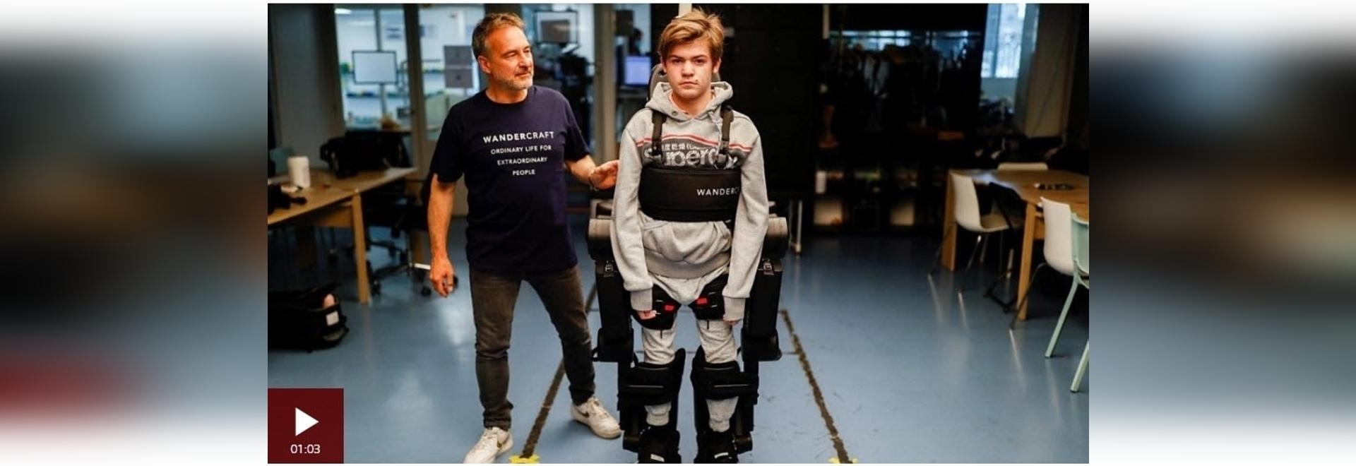 Dad builds robotic exoskeleton to help son walk