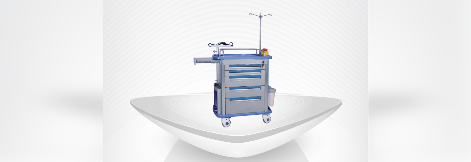 Emergency Cart / Best price Hospital ABS Emergency Trolley / Multiple funtion