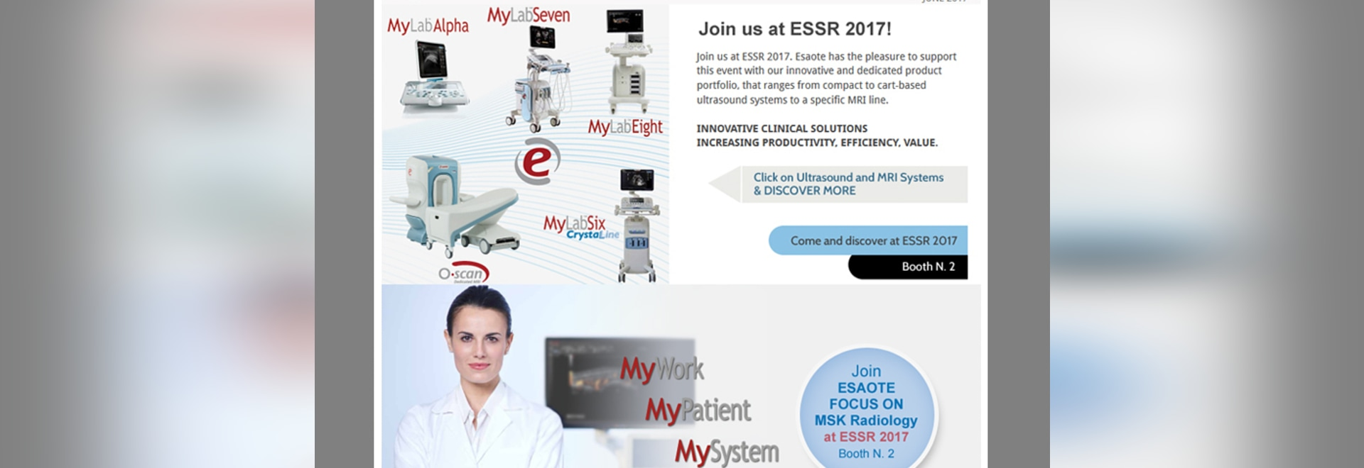 Esaote invites you at ESSR 2017 in Bari (Italy) to discover what's new - Booth N. 2