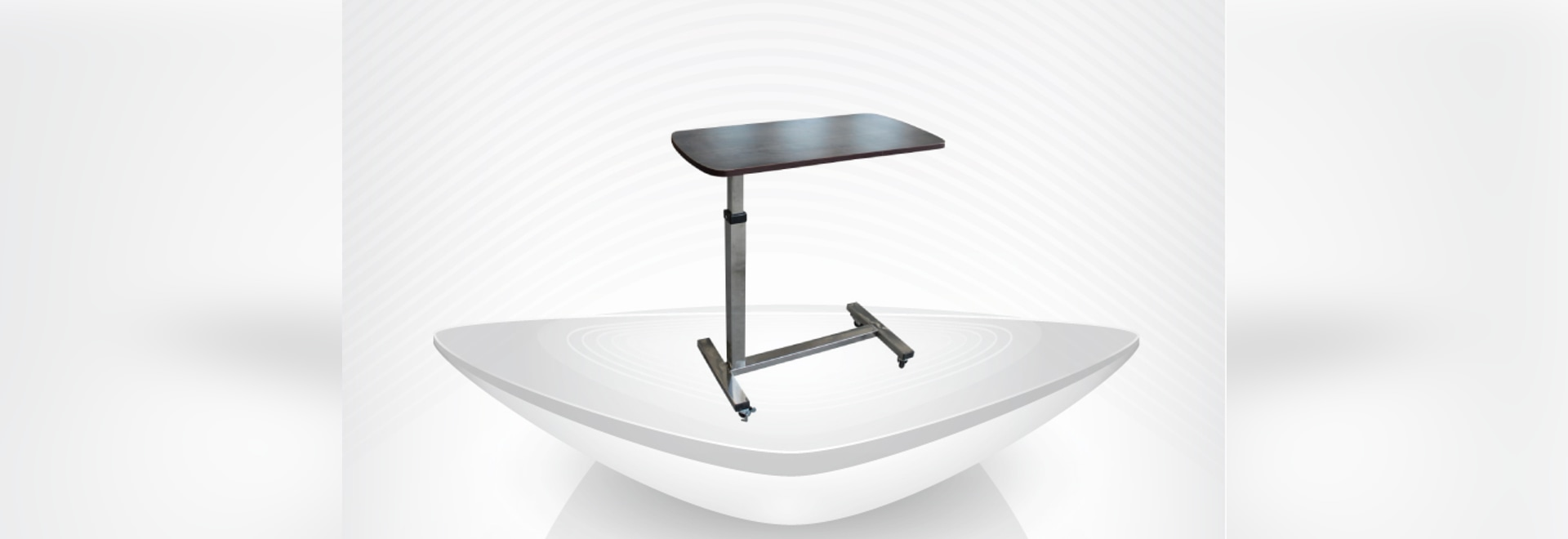 medical movable height adjustable hospital overbed table / wooden dinning board table