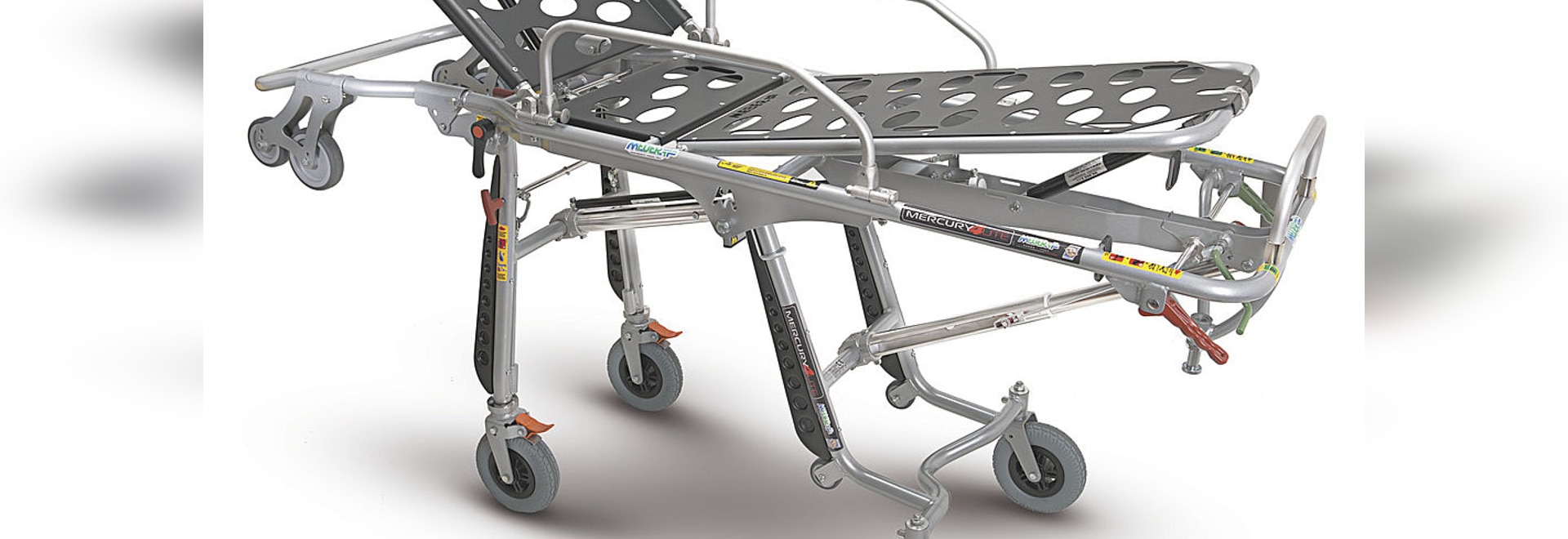 """""""Mercury Lite 4 RG"""" (7080/4RG Proof) - Certified aluminium variable height stretcher with 4 rotating wheels"""