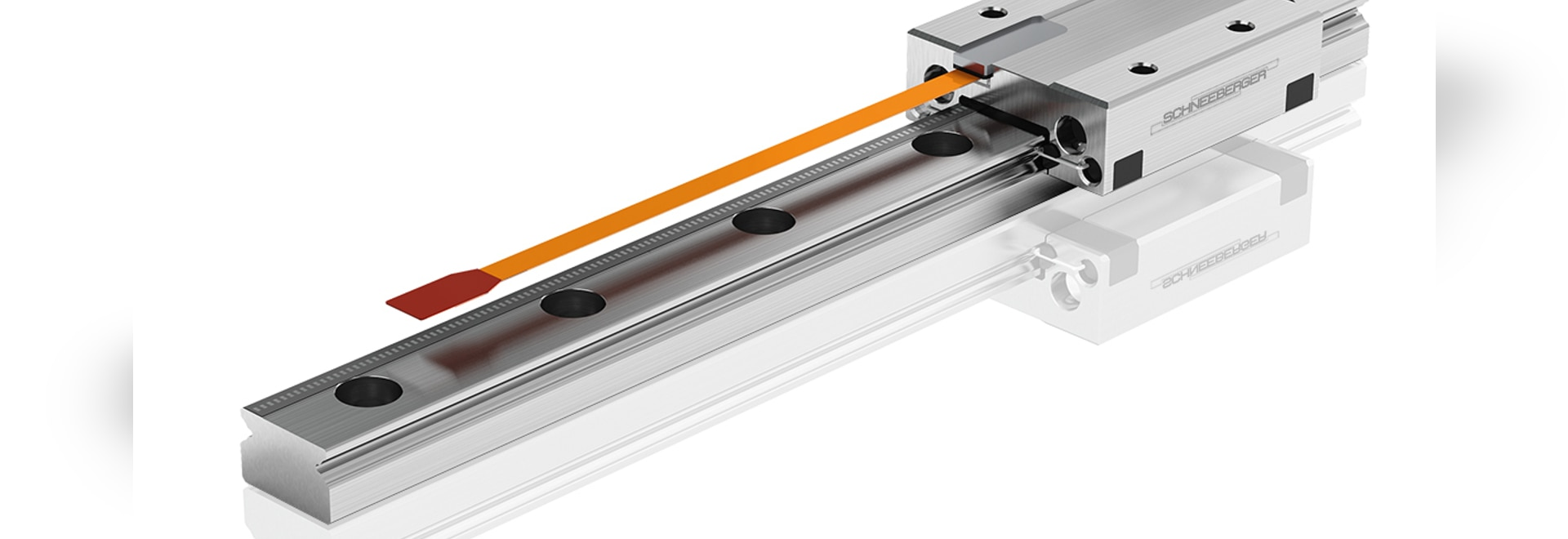 Miniature guideway with integrated distance measuring system
