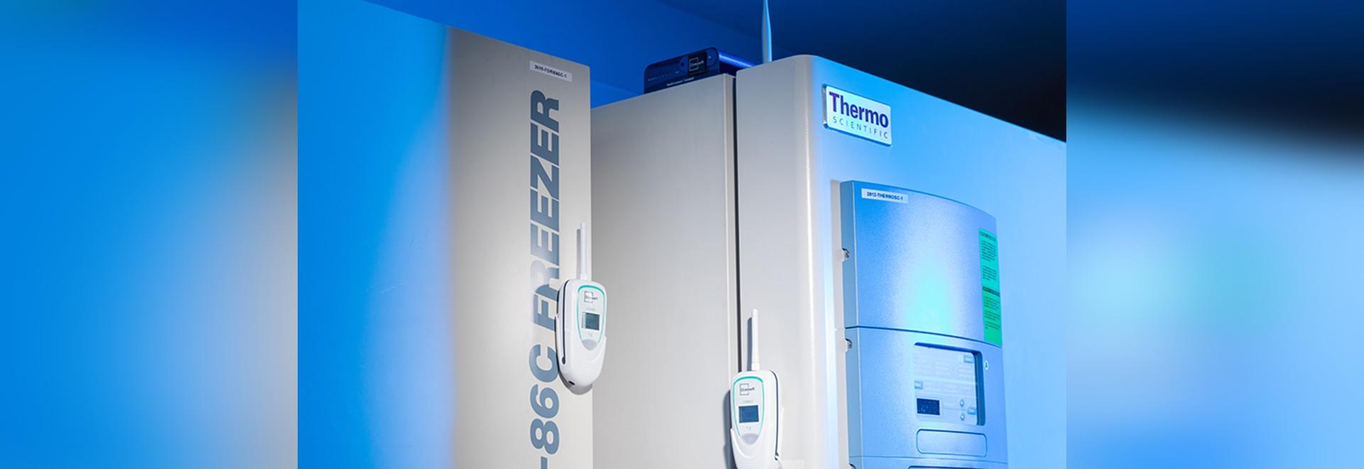 OCEASOFT Cobalt L3 monitoring a freezer in a laboratory