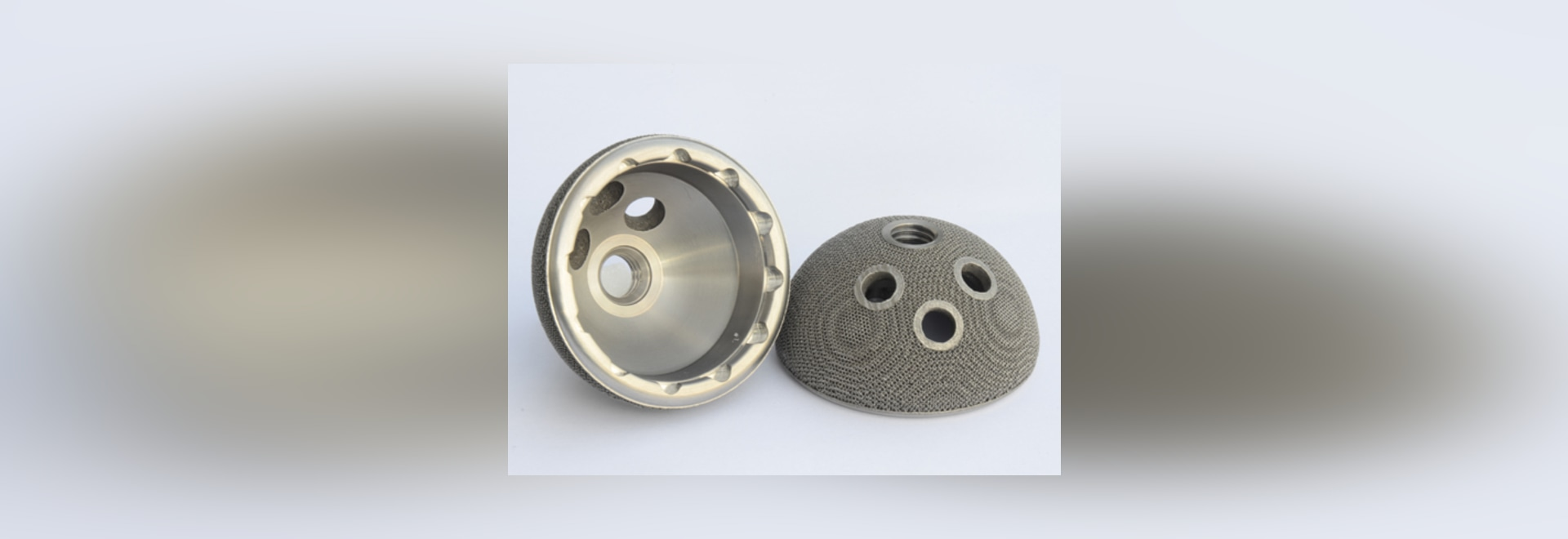 An orthopedic implant created using direct metal 3-D printing.