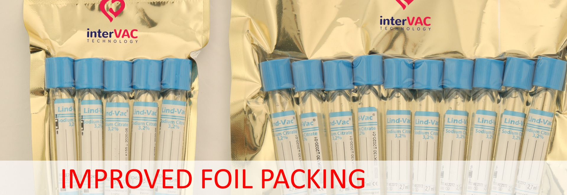 Satefy foil packing for blood collection tubes