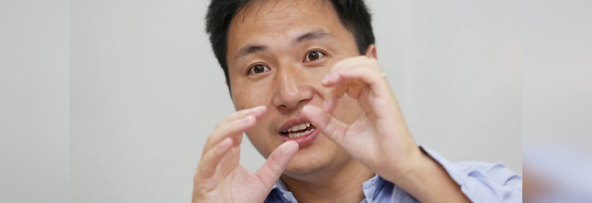 Scientist He Jiankui speaks at his company Direct Genomics in Shenzhen, China, on July 18, 2017.