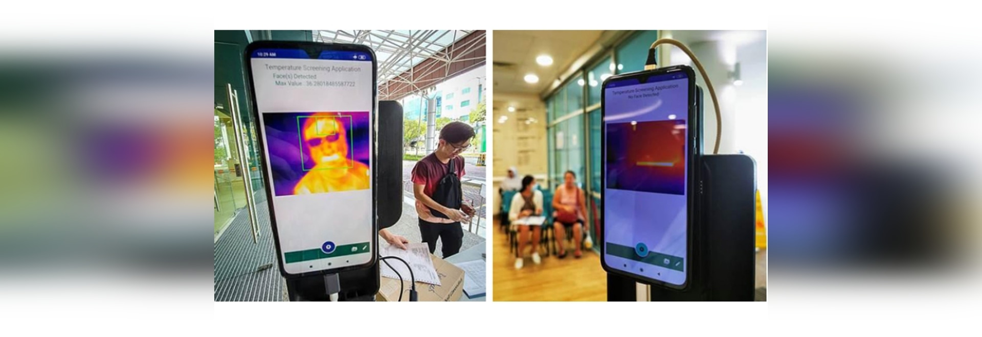 Smartphone With Laser and Thermal Cameras to Screen Passersby for Fever