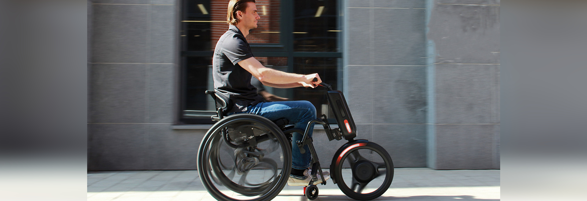 Turn a wheelchair into an electric vehicle with the UNAwheel maxi
