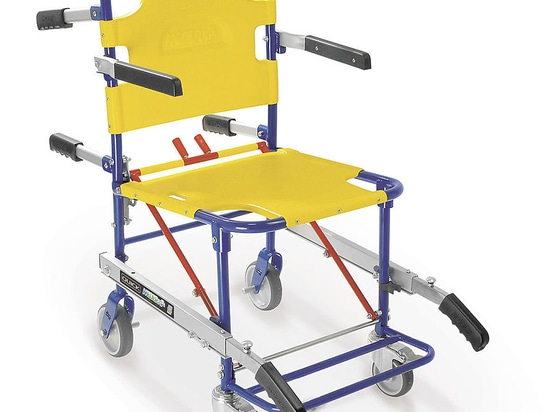"""""""QUICK659"""" (Art. 659/B) - Folding sedan chair with 4 wheels, footboard and arms -  blue/yellow and yellow/black"""