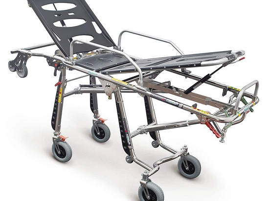 Mercury4 (Art. 7070/4RG Proof) - Stainless steel certified variable height self loading stretcher with 4 rotating wheels
