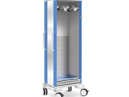 Endoscope storage column on wheels