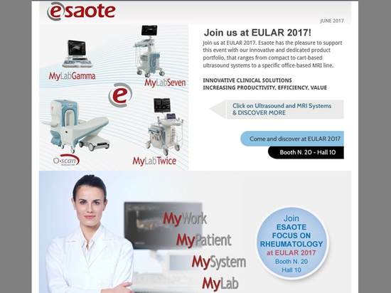Join Esaote at EULAR 2017 in Madrid - Booth N. 20, Hall 10