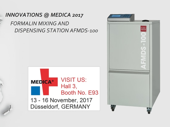Now exclusively at the MEDICA 2017: Fully Automated Formalin Mixing and Dispensing Station!