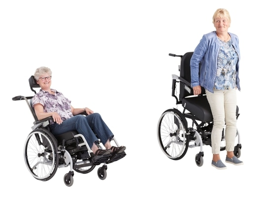 Wheelchair with high/low, stand-up and tilt function