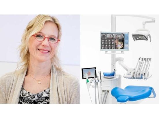 From left: Kaisu Ilomäki, product manager for Planmeca's dental care units; the Compact i5 dental unit. (Photograph: Planmeca)