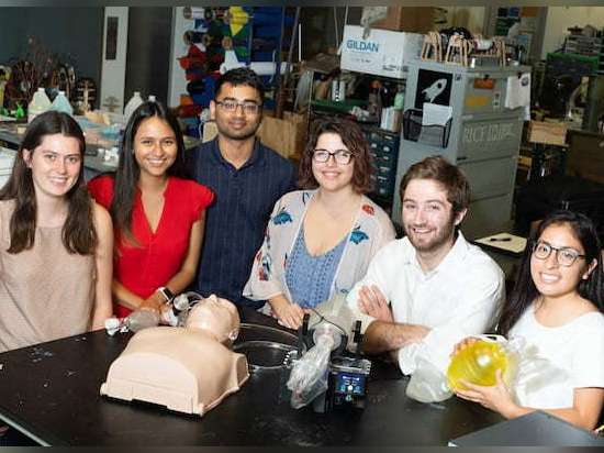 Rice University engineering students developed a bag valve mask compressor to automate the difficult task of feeding fresh air to patients' lungs, often for hours at a time. From left: Madison Nast...