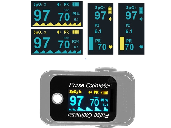 Spo2 , pulse rate and PI monitored by four-way finger pulse  oximeter
