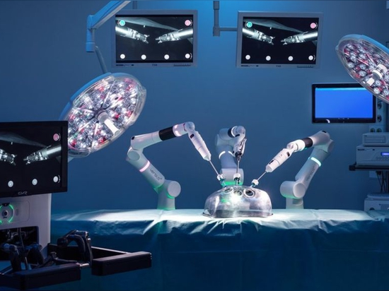"Surgical robot. ""I believe the next step, driven by AI, will be the augmentation of surgical robots."" (CMR Surgical)"