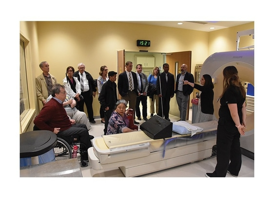 Officials from the U.S. Access Board tour facilities at Indianapolis-based Eskenazi Health.