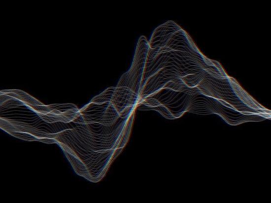Music sound waves set.