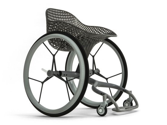 The seat and the footrest are 3D-printed.
