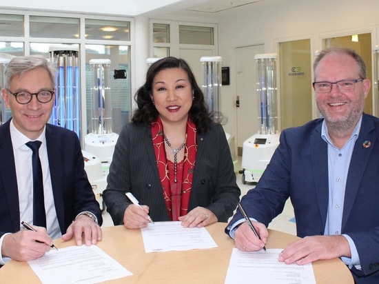 The agreement between UVD Robots and Sunay Healthcare Supply was signed Wednesday, February 19, at UVD Robots' headquarters in Odense, Denmark by (from left) Per Juul Nielsen, Chief Executive Offic...