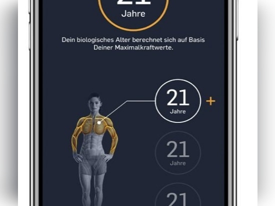 In the eGym Member app, trainees can see their current physical condition and training progress, including their biological age.