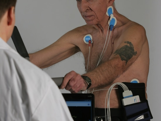 Lung disease patient undergoing rehabilitation