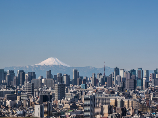 Tokyo downtown building and Tokyo tower landmark with Mountain Fuji on a clear day.
