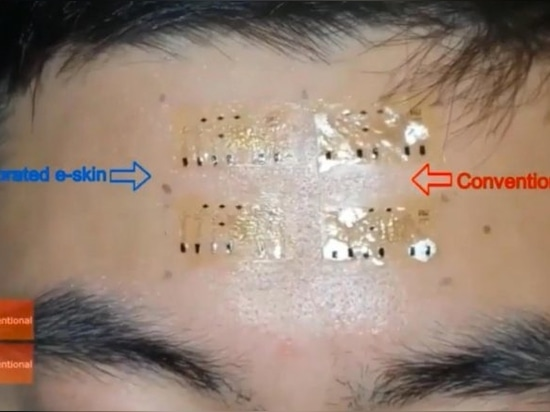 The researchers tested the e-skin by sticking it to a volunteer's wrist and forehead for a week.. The volunteer wore the tape during sweat-inducing activities, such as running on a treadmill for 30...
