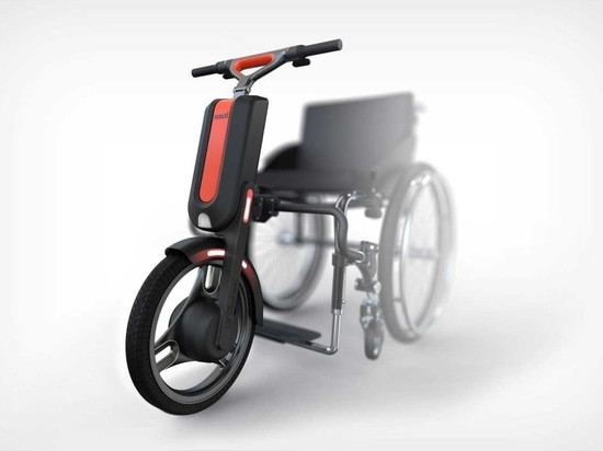 compatible with both active and basic mechanical wheelchairs, the UNAwheel maxi accelerates to 20 km/h