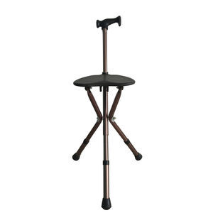 椅子付き歩行杖 / Tハンドル / 高さ調整可能 / 折り畳み式